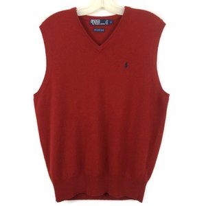 Polo Ralph Lauren red v-neck wool sweater Vest L